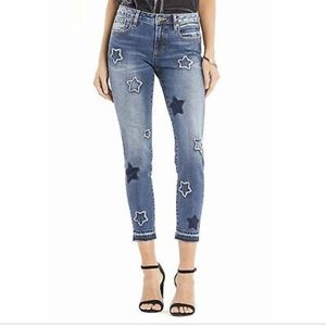 MISS ME ANKLE SKINNY STAR EMBROIDERED JEANS SZ 27
